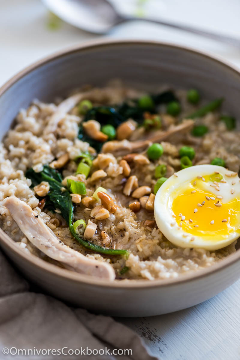 Learn how to create a hearty, whole grain savory oatmeal bowl with only 4 ingredients and in 5 minutes!