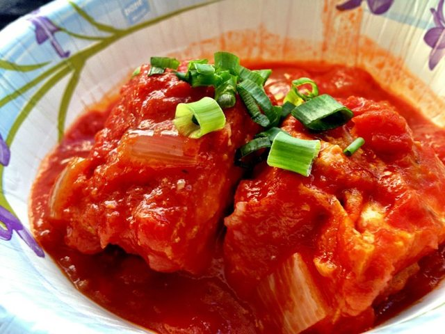 The Way Of Making Vietnamese Pork-Stuffed Fried Tofu In Tomato Sauce