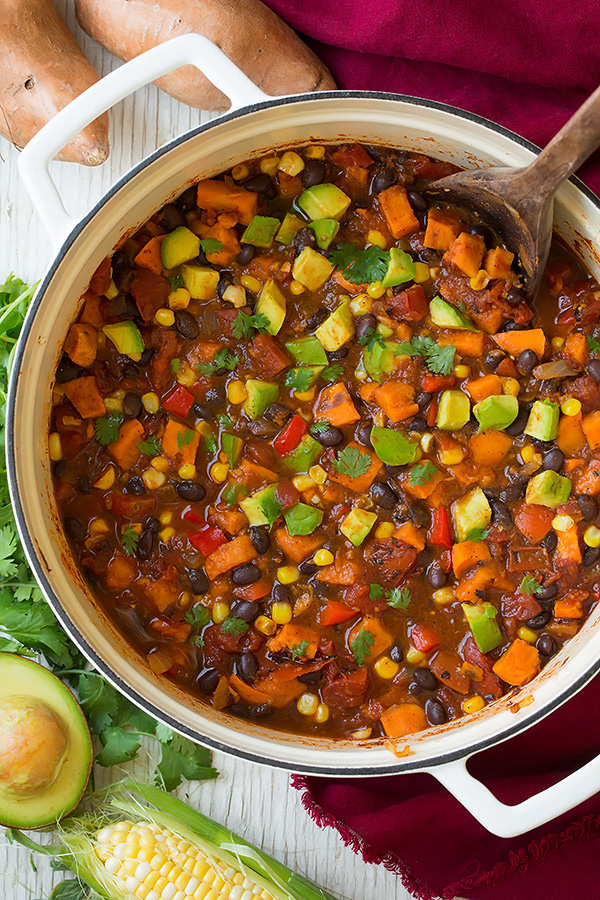 Roasted Sweet Potato and Black Bean Chili