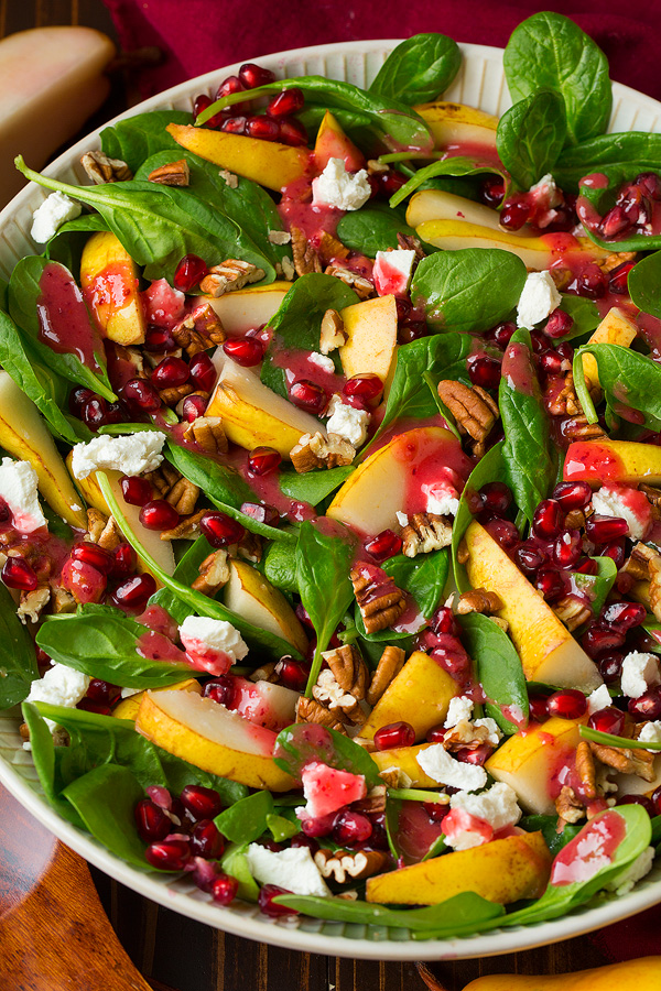 Pear Spinach Salad with Cranberry Orange Vinaigrette