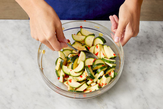 Make the marinated zucchini: