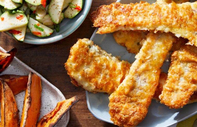 Crispy Fish & Tartar Sauce with Marinated Zucchini & Sweet Potato Fries