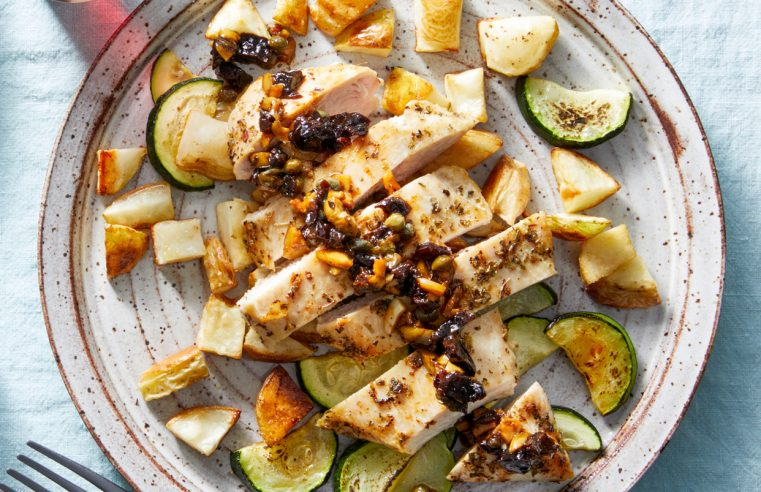 Chicken Marbella with Roasted Potatoes & Zucchini