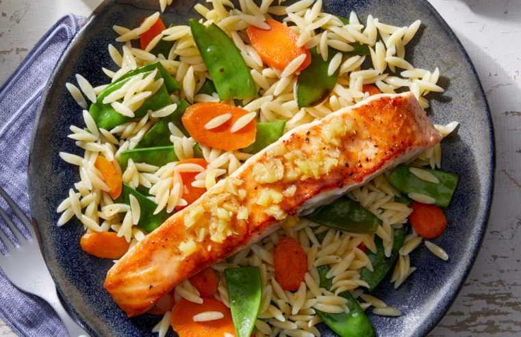 Lemon-Ginger Salmon over Carrots, Spring Peas, & Orzo