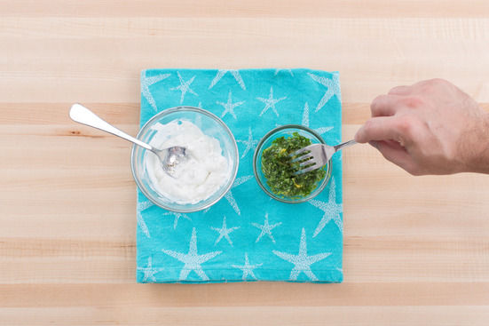 Make the chermoula & season the labneh:
