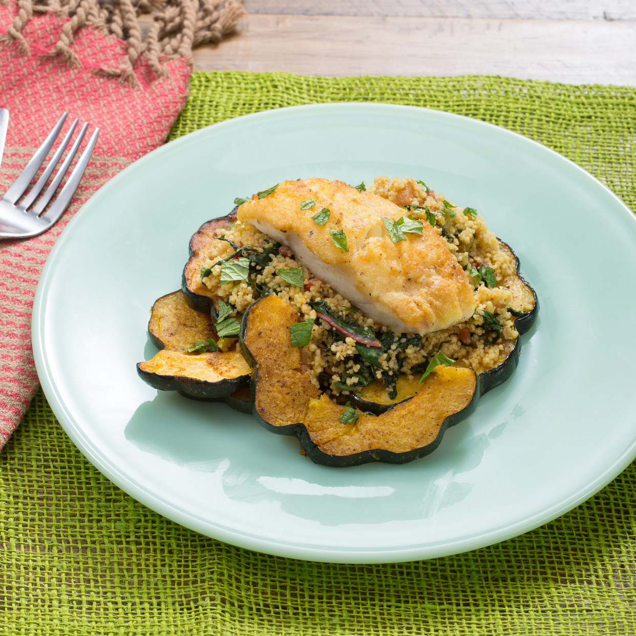 Crispy Cod & Spiced Couscous with Acorn Squash & Rainbow Chard