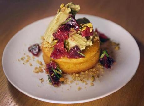 Jamaica Plain, MA - 02/12/15 - Lime polenta cake, toasted pistachio sorbetto, blood orange. Dining Out review of Centre Street Cafe in Jamaica Plain. (Barry Chin/Globe Staff), Section: Lifestyle, Reporter: Devra First review, Topic: 25Dining out, LOID: 8.0.2486868916.