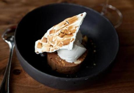 Chocolate and almond terrine with pure coconut sorbet and meringue.