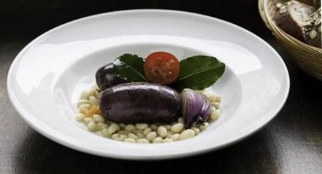 06travberlin - Spicy blood sausage with white beans, Gasthaus Renger-Patzsch, Berlin, Germany. (handout)