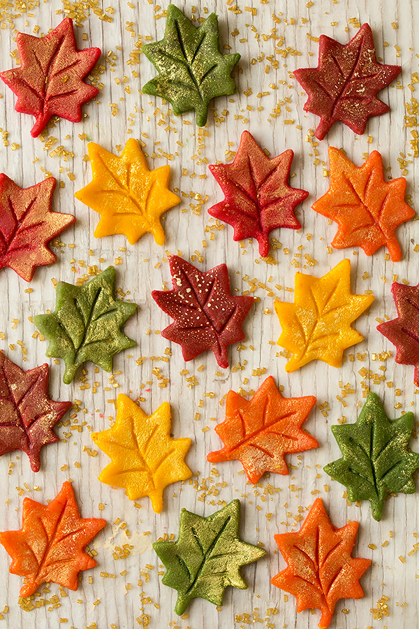 Marzipan Gold Flecked Autumn Leaves | Cooking Classy