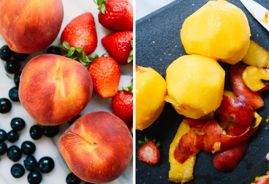 peaches, strawberries and blueberries
