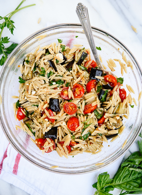 Roasted eggplant, tomato and feta pasta! This is an easy and healthy weeknight dinner. cookieandkate.com
