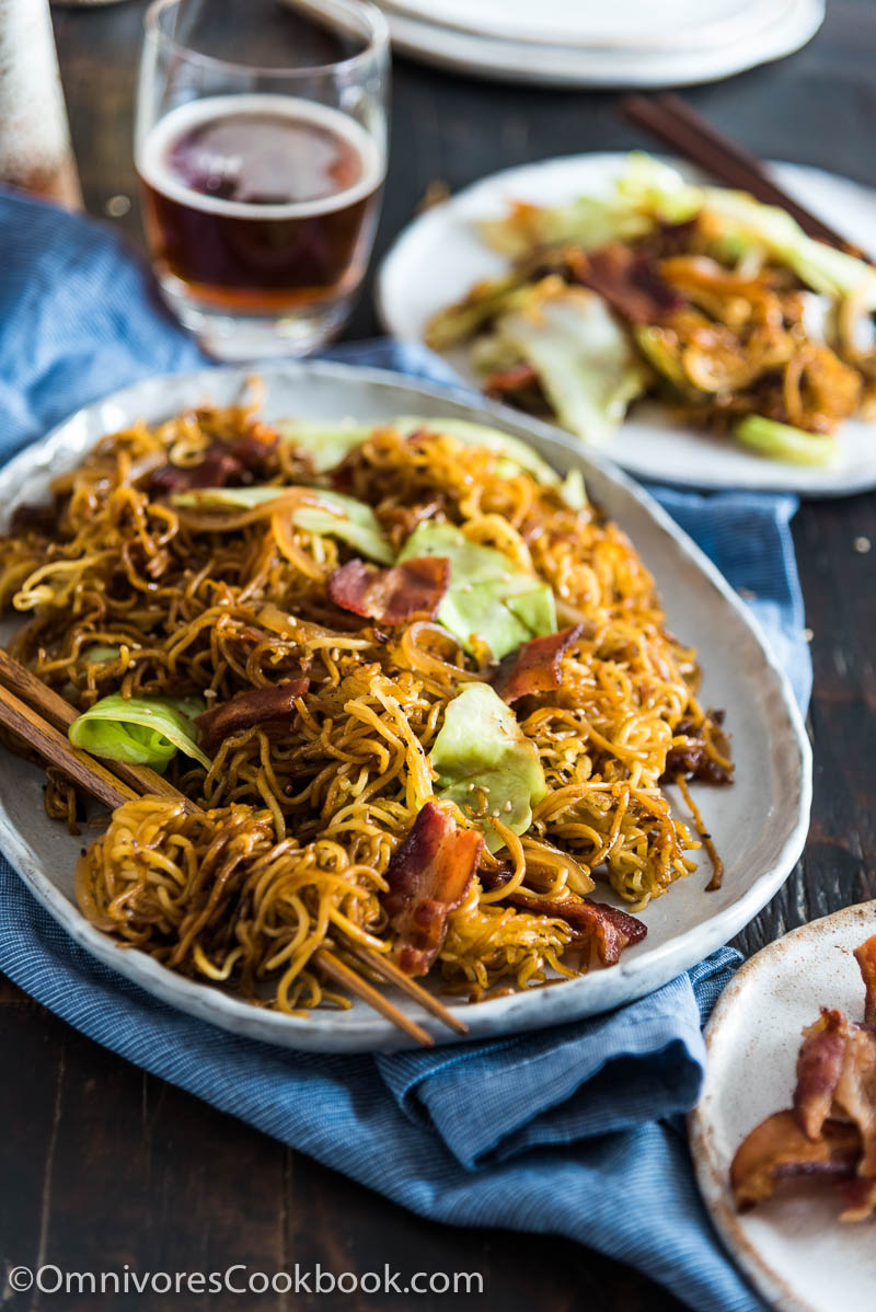 Bacon Pan Fried Noodles - Crispy bacon, charred noodles, sweet cabbage, and caramelized onion make this quick one-bowl meal irresistible!