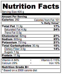 Asian-Style Potato Chowder Nutrition Facts