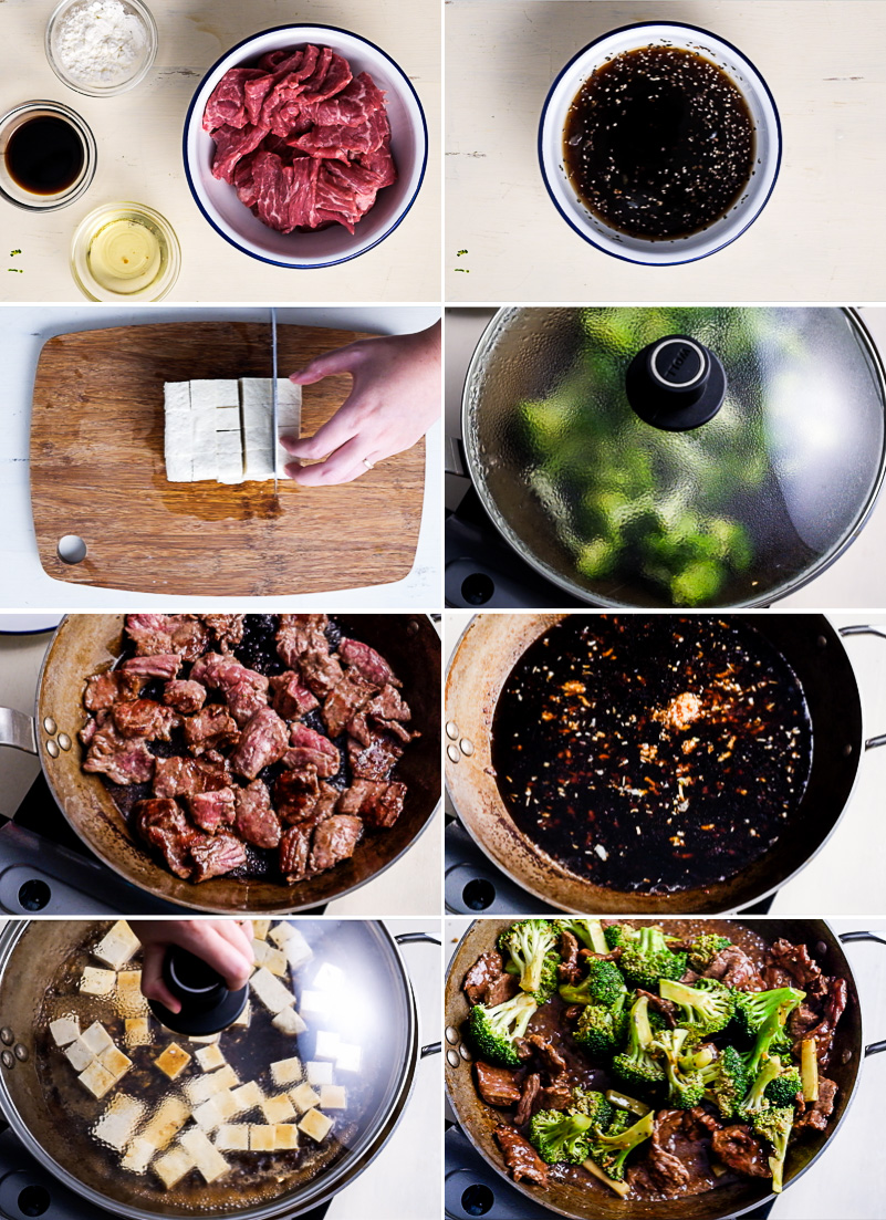Chinese Beef and Broccoli with Tofu Cooking Process
