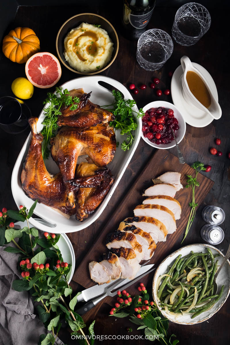 A marinade that is so much better than your average brining mixture. It creates the juiciest turkey that is extra flavorful and crispy on all sides.