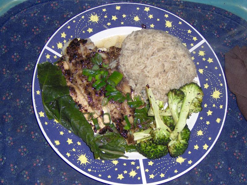 Black Bean Cod on tofu & chard