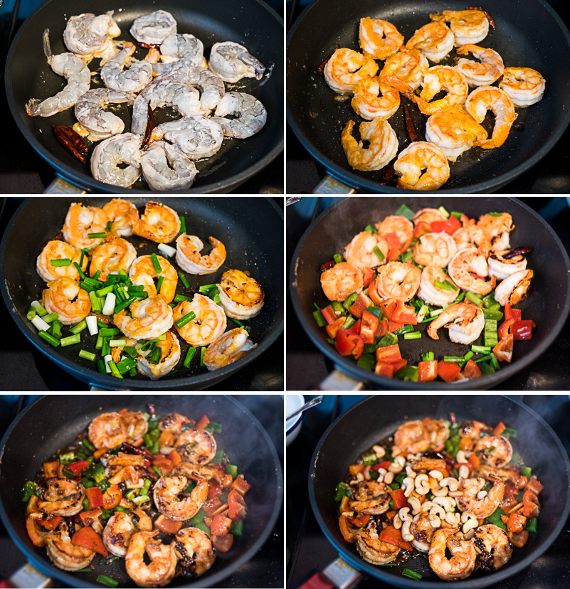 Kung Pao Shrimp Cooking Process