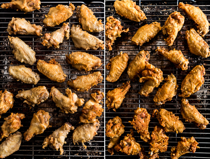 The change it makes when you fry the wings twice