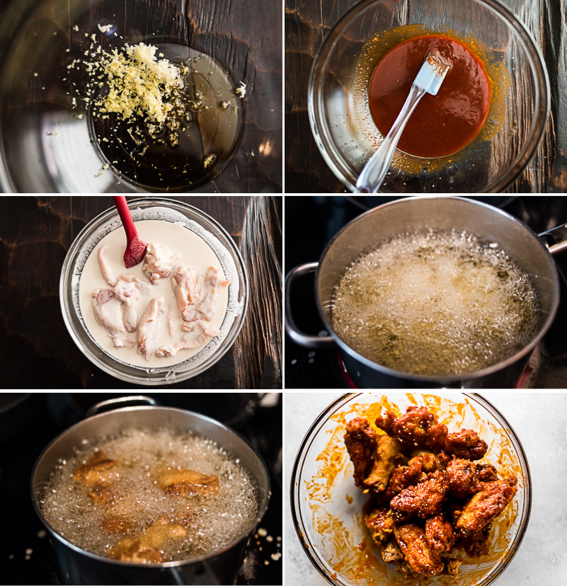 Fried Chicken Wings in Asian Hot Sauce Cooking Process