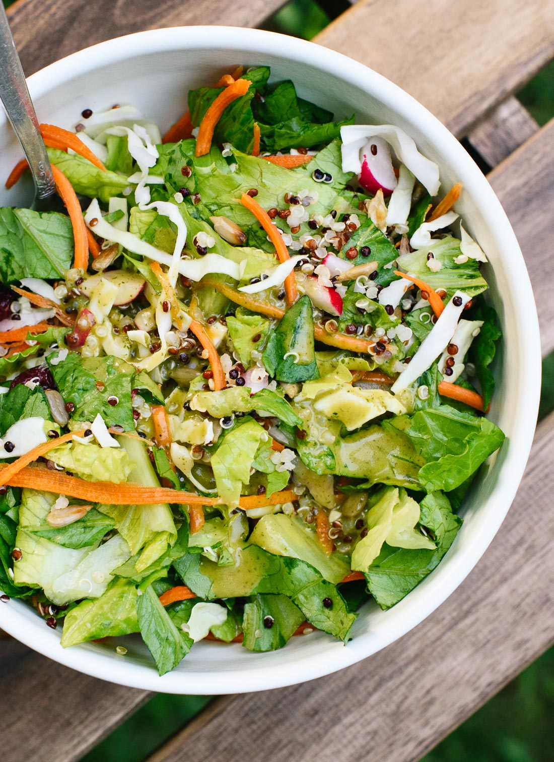 This mega crunchy romaine salad is bursting with fresh and flavorful ingredients! cookieandkate.com