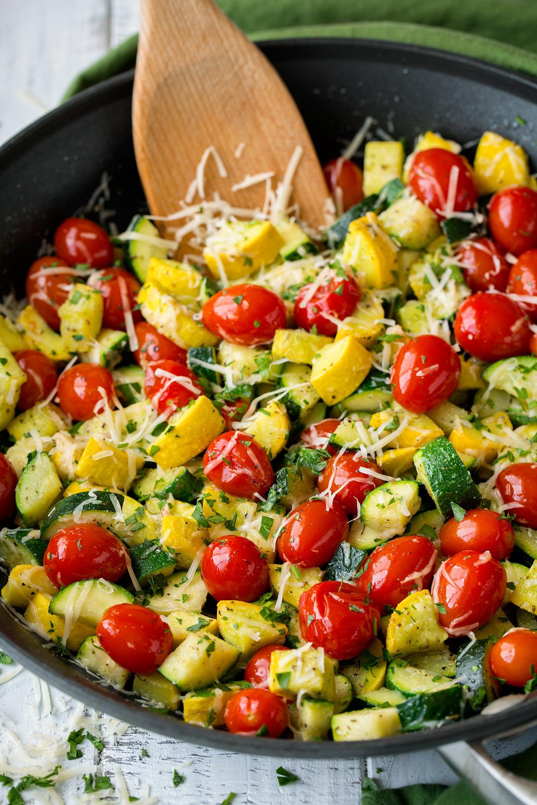 Skillet Garlic Parmesan Zucchini Squash and Tomatoes
