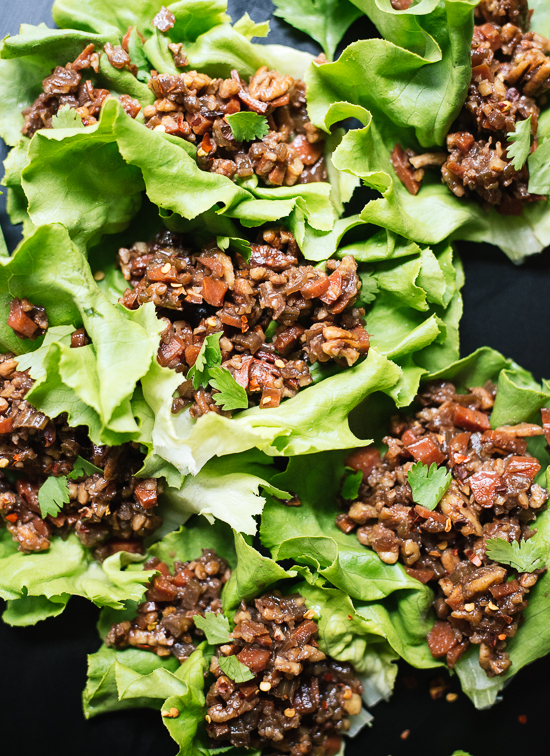 These Thai lettuce wraps are a perfect vegetarian and gluten-free appetizer! cookieandkate.com
