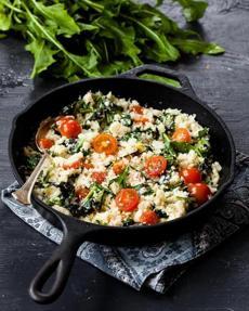 Cauliflower 'rice' with dandelion greens