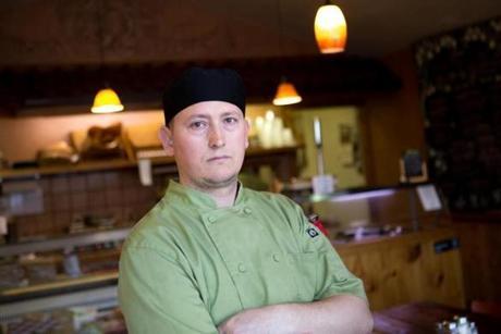 April 24, 2015 - Carlos Perez (cq) poses at his restaurant, Bottega de Capri, in Brookline, Mass. (Justin Saglio for The Boston Globe)