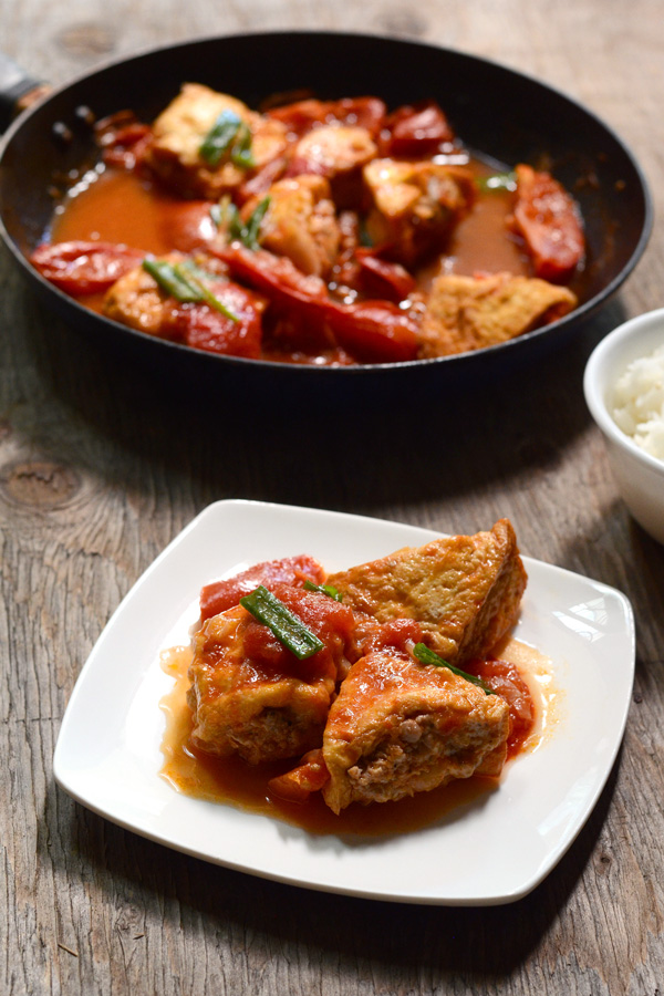 Vietnamese Pork-Stuffed Fried Tofu In Tomato Sauce