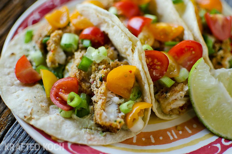 Recipe: Tortilla Crusted Fish Tacos with Avocado Crema