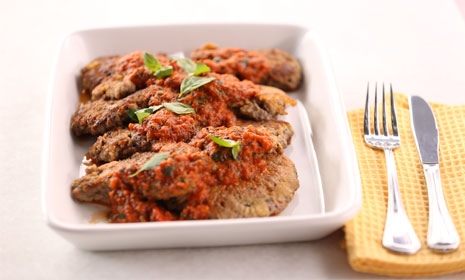 Italian Fried Steak With Roasted Pepper Pesto
