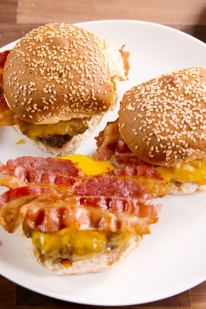 fried egg-topped cheeseburger