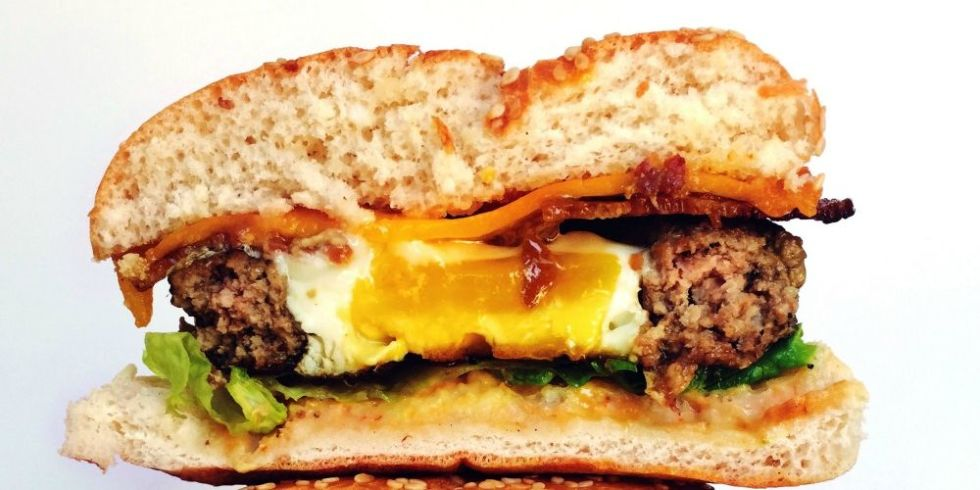 fried egg-topped cheeseburger