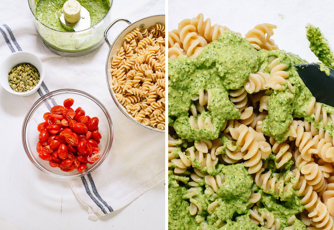 how to make pesto pasta salad