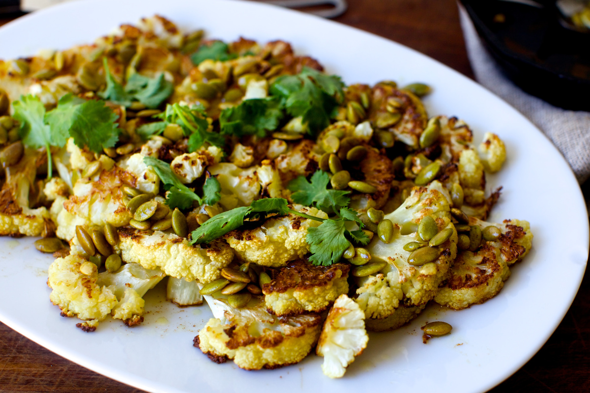 Easy way to roast cauliflower with pumpkin seeds, brown butter and lime