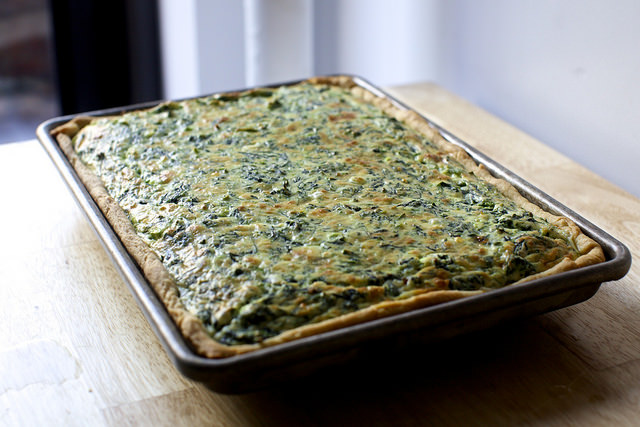 spinach sheet pan quiche