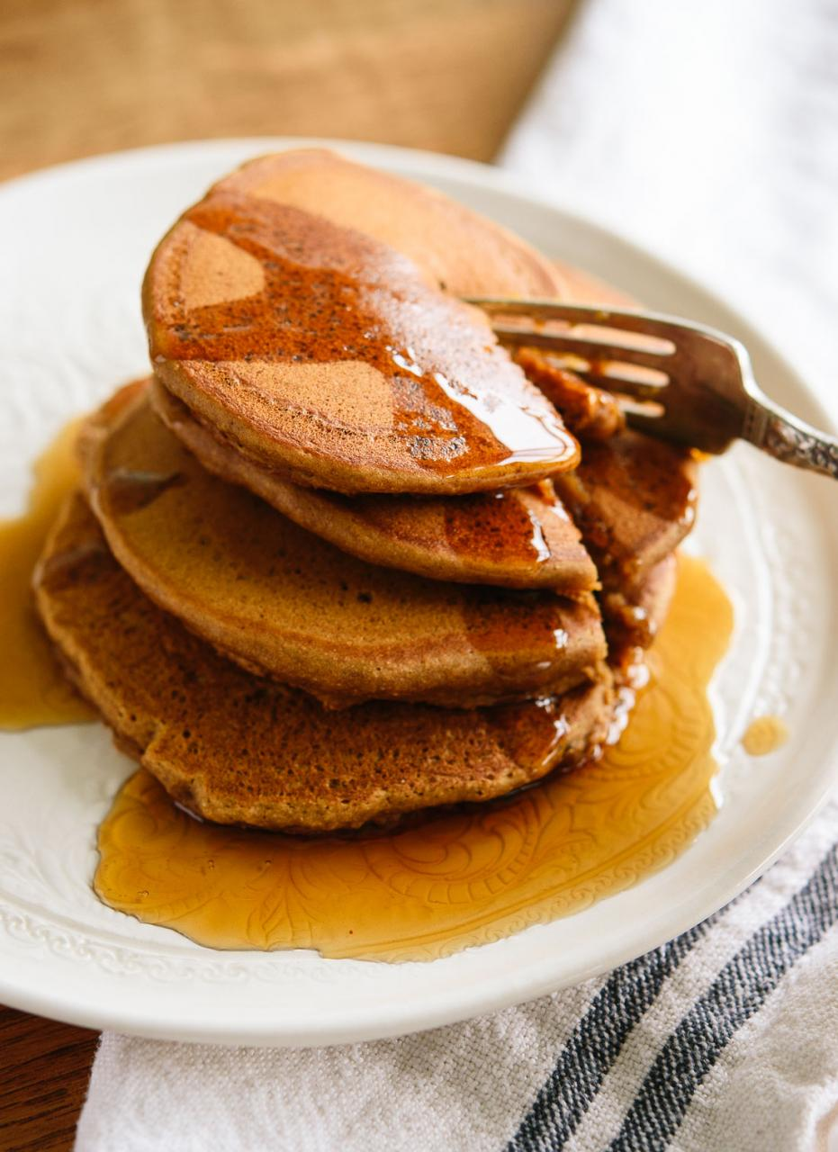Fluffy and wholesome gingerbread pancakes! Get the recipe at cookieandkate.com
