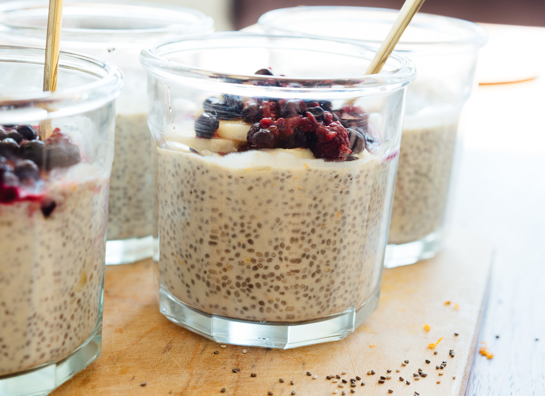 Chia pudding made with cashew milk, orange zest and vanilla extract