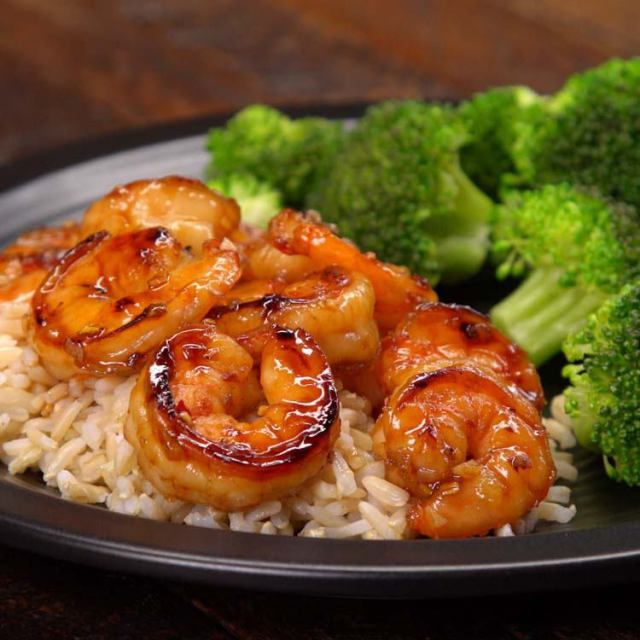 honey garlic shrimp plated