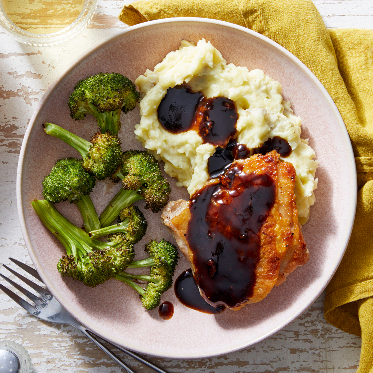 Balsamic-Glazed Chicken Thighs with Garlic Mashed Potatoes & Broccoli