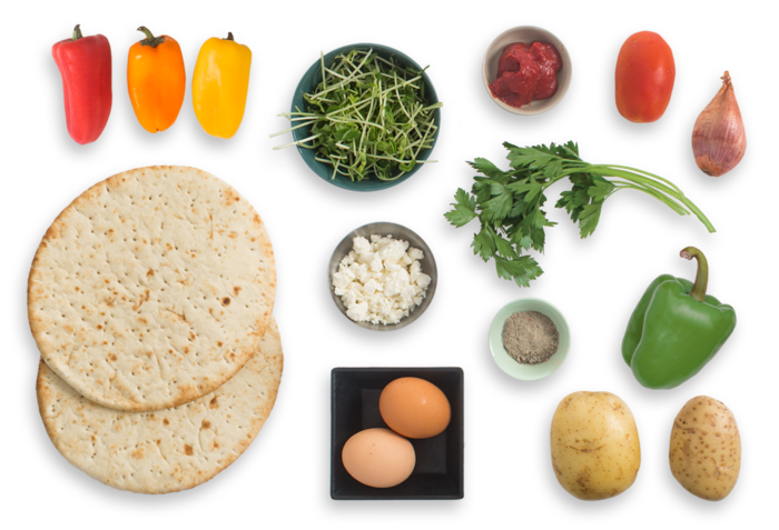 Summer Pepper & Potato Shakshuka with Pea Shoots & Spiced Pita Chips