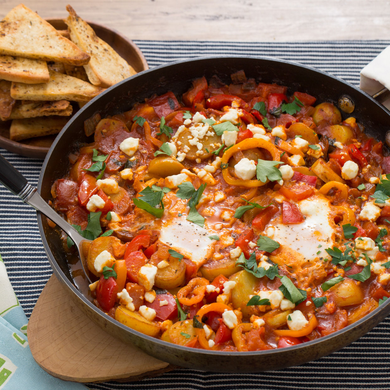 Summer Pepper Shakshuka with Baked Eggs & Za'atar-Spiced Pitas