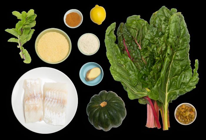 Crispy Cod & Spiced Couscous with Acorn Squash & Rainbow Chard